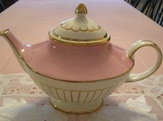 gorgeous pink, white and gold teapot