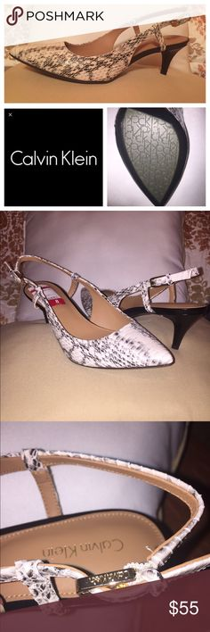 Calvin Klein Sling Back Snake skin print. The true color is light cream or tan and black, some photos made them appear white. Gold buckle. Heel is about 1-1.5 inches. Never been worn. They were just purchased last week, but are unable to be returned. Calvin Klein Shoes Heels