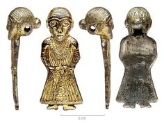 """The Revninge woman"". It's not really known what viking women really looked like. However, the discovery of this small gilt silver figurine, in Denmark, contains a wealth of detail giving new knowledge about costume and jewellery of the period. The figurine has been dated to 800CE. Some historians believe it depicts a Valkyrie, others that it is the fertility goddess Freya. http://www.pasthorizonspr.com/index.php/archives/06/2014/viking-age-revninge-woman-an-exceptional-find"