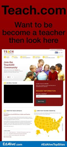Teach.com | Want to be become a teacher then look here | A comprehensive resource for information on becoming a great teacher in any state across the country. It provides state specific information on how to become a teacher, teacher salaries, teaching credentials, teacher certification tests, alternative teacher certification, and much more. Our aim is to provide all the information necessary to become a teacher no matter where you live.  #TeacherResource #EdAliveTopSites