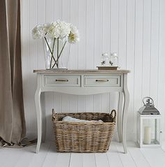 Bridgeport grey living room furniture. Console sofa table with drawers. Grey Shabby Chic furniture