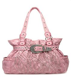 Western Light Pink Rhinestone Buckle Accented Purse - Handbags, Bling & More!