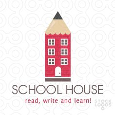 clean and unique logo design combines a pencil and school house into one unique and creative