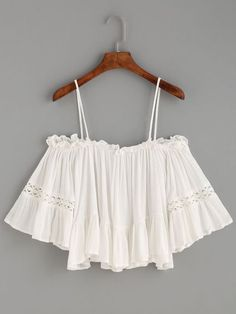 Shop White Crochet Insert Cold Shoulder Ruffle Top at ROMWE, discover more fashion styles online. Girls Fashion Clothes, Teen Fashion Outfits, Outfits For Teens, Girl Fashion, Girl Outfits, Cute Summer Outfits, Cute Casual Outfits, Pretty Outfits, Romwe