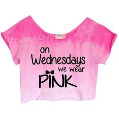 "OMBRE PASTELS Unique Tie Dye Crop Top or Regular Shirt Retro Custom Shirt ""On Wednesdays We Wear Pink"""