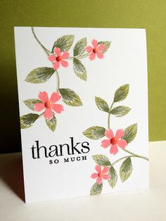 handmade thank you card by I'm in Haven ... one layer .. pretty stamping ... like the placement of the flowering branches ...