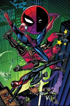 • Spidey and Deady (Pooly?) get a visit from MILES MORALES! • A goblin invasion puts Deadpool and the Spider-Men in a tight spot!. Deadpool Y Spiderman, Deadpool 2016, Deadpool T Shirt, Batman, Ultimate Spider Man, Comic Book Characters, Comic Books Art, Comic Art, Book Art