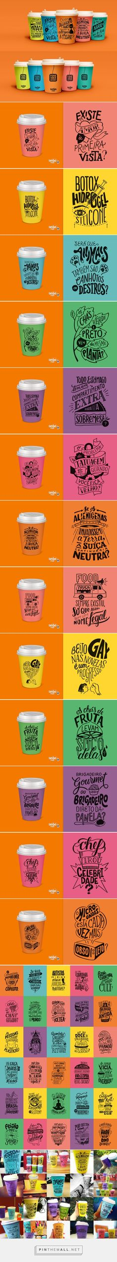 Illustration, typography and packaging for Leão Fuze Letterings on Behance curated by Packaging Diva PD. Series of 60 compositions of lettering + illustration made for an ad campaign of Leão, the Coca-Cola branch of tea in Brazil.
