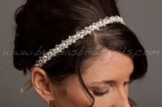 Crystal Rhinestone Ribbon Tie On Headband by brendasbridalveils, $74.95