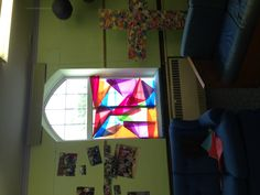 Stained glass windows with tissue paper!!
