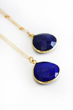 Love the color :) BLUE lapis lazuli necklace by shopkei on Etsy, $52.00