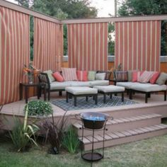 Adorable Small Deck With Privacy Curtain Idea , Attractive Privacy Ideas for Decks Giving Chic Backyard Look In Outdoor Category