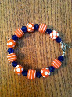 Orange cubes and blue crystal Gator Bracelet by Gatorlicious, $20.00