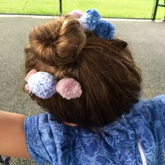 Handmade hand dyed pompoms sewn on hair combs