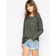 The Furies NOH Long Sleeve Striped Pocket T-Shirt (€47) ❤ liked on Polyvore featuring tops, t-shirts, green tea, long sleeve tee, white t shirts, long sleeve pocket t shirts, white pocket tee and oversized white tee