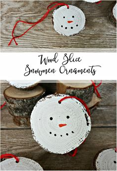 These wood slice snowmen ornaments are too cute!! What a fun idea!