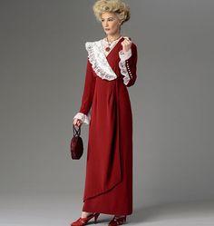 B6093, Misses' Dress, Belt and Bib