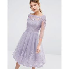 Chi Chi London Premium Lace Midi Prom Dress With Sleeve ($68) ❤ liked on Polyvore featuring dresses, purple, purple midi dress, purple dress, lace fit-and-flare dresses, prom dresses and midi dress