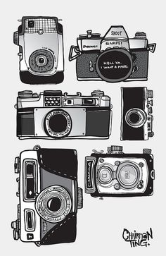 A vintage camera collection set illustrated