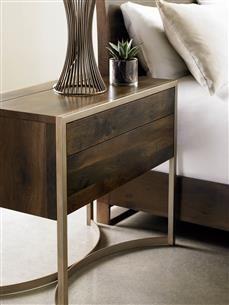 #Caracole Light: Artisans Nightstand.  Matte gold artisan metal twists to form an elegant base accentuating this sleek nightstand's modern profile.