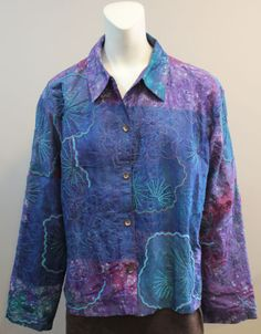 CHICOS-2-Medium-Blue-Purple-Button-Front-Silk-Beaded-Coat-Jacket