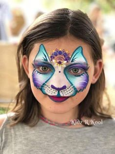 Kitty Face Paint, Mask Face Paint, Cat Face, Face Painting For Boys, Face Painting Designs, Body Painting, Animal Face Paintings, Animal Faces, Face Design