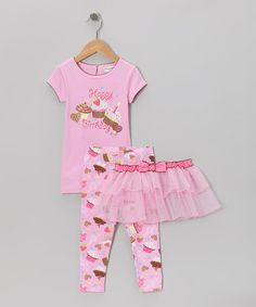 Take a look at this Pink 'Happy Birthday' Cupcake Tutu Set - Infant, Toddler & Girls by Krazy Legs on @zulily today!