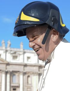 "Pope Francis' Fireman Hat Is Awesome As he rode around St. Peter's Square in his Popemobile, waving to the crowd, he stopped to greet a group of Italian voluntary firefighters dressed in black and yellow, who handed him a fire helmet. ""Shall I wear it?"" he asked, before popping it onto his head, drawing smiles and applause, reports The Telegraph."