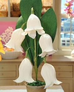 Lovely lilies of the valley, in crepe paper form, offer a cheery addition to spring decor. This how-to comes from TV crafter Morgan Levine. Giant Paper Flowers, Faux Flowers, Diy Flowers, Real Flowers, Crepe Paper Flowers, Paper Roses, Fabric Flowers, Diy Paper, Paper Crafts