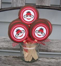 Dotted Sock Monkey Cupcake Topper Set of 12 by Quax on Etsy, $12.00