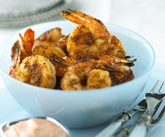 Serve the seasoned broiled shrimp with the homemade mayonnaise dressing for a quick and easy appetizer.