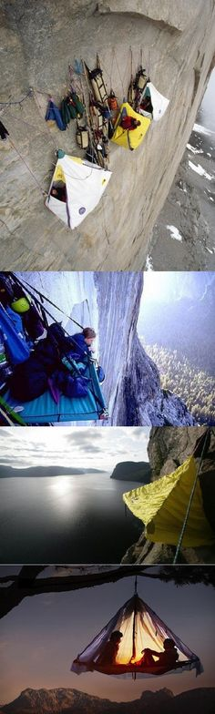 Whaaaa!!! Hanging Tents!!! I don't know if I would be able for this, but wow! People do this!