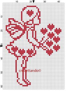 San valentino Bimba farfallina innamorata. Cross Stitch Angels, Cross Stitch Heart, Cross Stitch Cards, Cross Stitching, Cross Stitch Embroidery, Filet Crochet, Crochet Chart, Crochet Stitches Patterns, Hand Embroidery Patterns