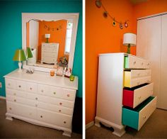 Love this idea.  Pops of color inside the drawers and the handles!