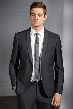 Grey Shawl Collar Skinny Fit Suit