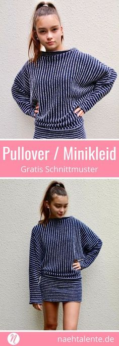 Fledermaus-Pullover & Minikleid 3 square woman free knit sweater pattern - Woman Knitwear and Sweaters Sewing Patterns Free, Free Sewing, Clothing Patterns, Dress Patterns, Pattern Sewing, Free Pattern, Crochet Patterns, Sewing Tips, Sewing Hacks