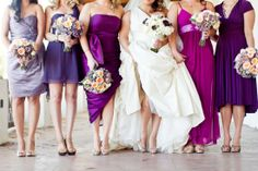 I would love to see my bridesmaids do something like this: different styles and shades of purple, but all the same length (knee length or above). Great idea!