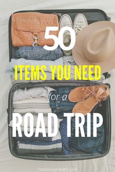 Planning to go on a little travel adventure this summer? Whether you are going camping with kids, planning to drive across state with family or across the continent with a couple of friends, here is an awesome road trip packing list of 50 essential items that you need to take with you. There's a free printable that you can download too!