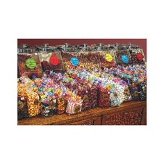 Old Fashioned Candy Store Antique Desk Colorful Stretched Canvas Prints