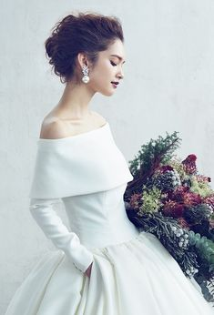 A by Hatsuko Endo - Wedding Images, One Shoulder Wedding Dress, Wedding Gowns, Wedding Hairstyles, Ball Gowns, Wedding Inspiration, Bride, Hare, Hair Styles