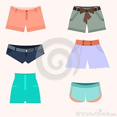 Set of shorts woman illustration with many various color and model