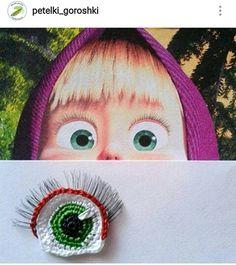 Brak dostępnego opisu zdjęcia. Crochet Eyes, Diy Crochet, Crochet Stitches, Crochet Doll Pattern, Crochet Dolls, Crochet Patterns, Doll Eyes, Doll Face, Masha Doll