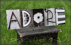 Personalized Alphabet Photography. Any 5 letter word (framed). You can get color or b&w.