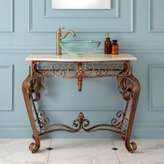 Golden Wrought Iron Console Vanity with Recessed Marble Sink Top Iron Console Table, Console Sink, Sink Top, Marble Top, Bathroom Furniture, Wrought Iron, Entryway Tables, Furniture Design, Vanity