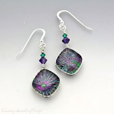 Earring style.  Fused Dichroic Glass Wire Wrapped Earrings in Green and Purple with Swarovski Crystal Accent Beads.  via Etsy.