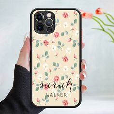 Personalised flower pattern phone case cover 245 Black (Apple Models Only) - 3