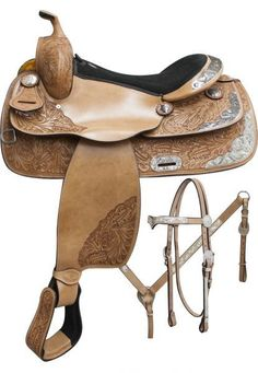 Semi-Tooled Show Saddle Set with Suede Leather Seat