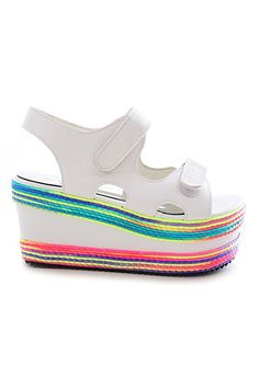 ROMWE | ROMWE Buckled Colorful Platfrom White Sandals, The Latest Street Fashion