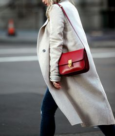 Neutrals with a Red Pop | Brooklyn Blonde Coat: Zara | Sweater: Old (Zara) | Denim: Topshop Maternity | Booties: Isabel Marant 'Dicker' | Bag: Celine Box | Lipstick: MAC Red x MAC Ruby Woo | Sunglasses: Ray Ban April 4, 2016