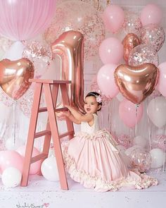 Details about Pink & Rose Pink Confetti Balloons-Party Decorations, Party Supplies - Pink Birthday Cake Ideen 1st Birthday Photoshoot, 1st Birthday Party For Girls, 1st Birthday Pictures, 1st Birthday Decorations, 1st Birthday Balloons, Birthday Ideas, Princess Birthday, Birthday Quotes, 1st Birthday Girl Dress